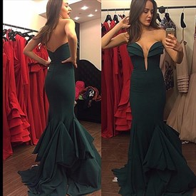 Dark Green Strapless Low Back Floor Length Sheath Mermaid Evening Gown