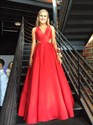 Show details for Elegant Red A-Line V-Neck Floor Length Sleeveless Cut Out Formal Dress
