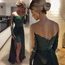 Hunter Green Sheer Long Sleeve V-Neck Lace Dress With Chiffon Overlay