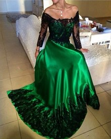 A-Line Off Shoulder Long Sleeve Prom Dress With Black Lace Embellished