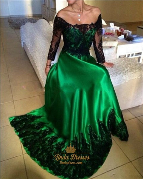Show details for A-Line Off Shoulder Long Sleeve Prom Dress With Black Lace Embellished