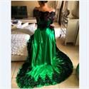 Show details for A-Line Off Shoulder Long Sleeve Prom Dress With Black Lace Embellished