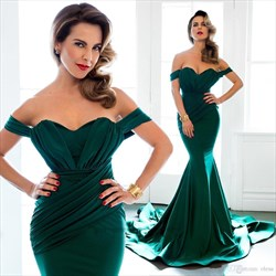 Simple Elegant Emerald Green Off The Shoulder Mermaid Evening Dress