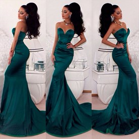 Simple Floor Length Strapless Sweetheart Mermaid Prom Dress With Train