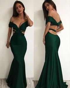 Dark Green Elegant Mermaid Off The Shoulder Cut Out Waist Prom Dress