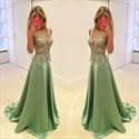 Show details for Sleeveless Deep V-Neck A-Line Lace Embellished Bodice Evening Dress