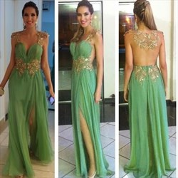 Cap Sleeve Embellished Illusion Back Chiffon Evening Dress With Split