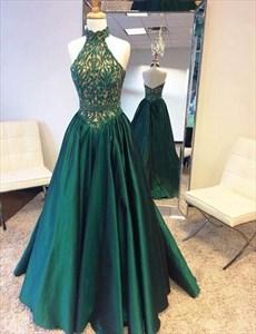 Halter High Neck Emerald Green Floor Length Evening Dress With Beading