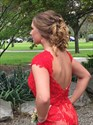 Show details for Red Cap Sleeve Floor Length Lace Prom Dress With Slits And Open Back