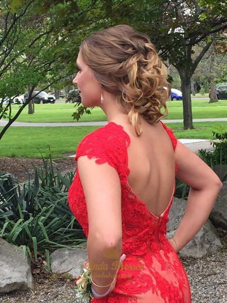 Red Cap Sleeve Floor Length Lace Prom Dress With Slits And Open Back