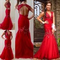 Show details for Red Drop Waist Keyhole Back Mermaid Prom Dress With Beaded Embellished