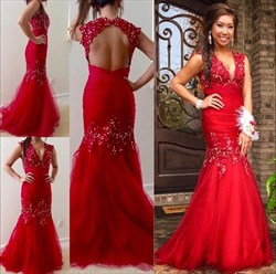 Red Drop Waist Keyhole Back Mermaid Prom Dress With Beaded Embellished
