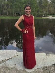 Elegant Burgundy Sleeveless Mermaid Lace Prom Dress With Closed Back
