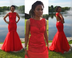 Red Sleeveless Backless Drop Waist Mermaid Prom Dress With Lace Bodice