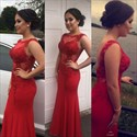 Show details for Red Illusion Sleeveless Lace Embellished Chiffon Mermaid Evening Dress