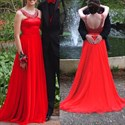 Red Chiffon A-Line Sleeveless Floor Length Prom Dress With Beaded Top