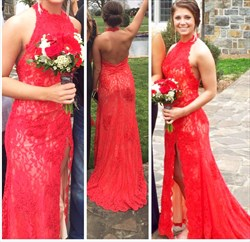 Red Sleeveless Halter Lace Open Back Floor-Length Prom Dress With Slit