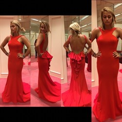 Simple Red Sleeveless Floor-Length Mermaid Prom Dress With Open Back