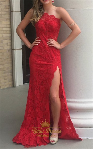 Elegant Red Lace One Shoulder Floor Length Evening Dress With Split