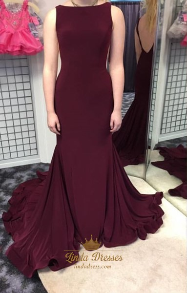Elegant Grape Sleeveless Open Back Mermaid Evening Dress With Train