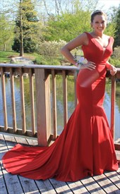 3d007f57d4bf Sleeveless Backless V-Neck Mermaid Prom Dress With Big Bows On Back ...
