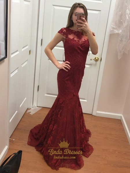 Burgundy Illusion Neckline Cap Sleeve Lace Overlay Mermaid Formal Gown