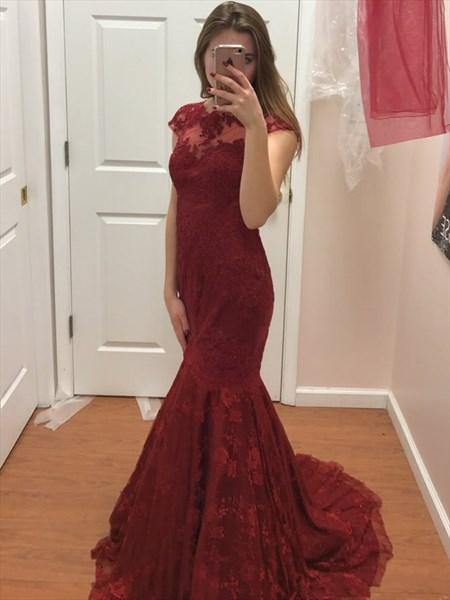 Burgundy Illusion Neckline Cap Sleeve Lace Overlay Mermaid Formal Gown