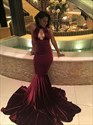 Show details for Burgundy Sleeveless Drop Waist Mermaid Prom Dress With Front Keyhole