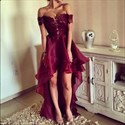 Show details for Off The Shoulder Backless Embellished High Low Burgundy Evening Dress