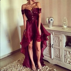 Off The Shoulder Backless Embellished High Low Burgundy Evening Dress