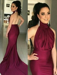 Burgundy Sleeveless High Neckline Mermaid Evening Gown With Open Back