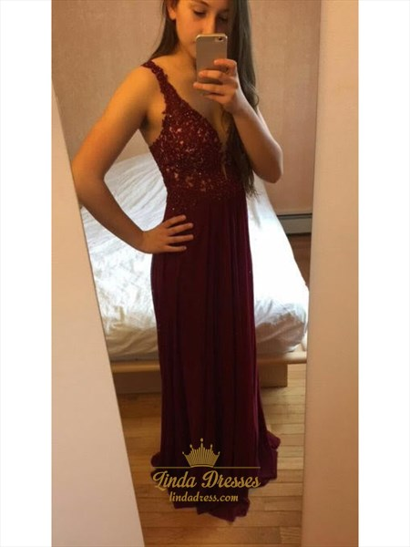 Floor Length Sleeveless V-Neck A-Line Lace Top Burgundy Chiffon Dress