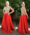 Show details for Sleeveless Illusion Lace Beaded Bodice A-Line Floor-Length Prom Dress