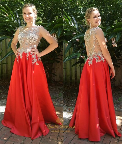Sleeveless Illusion Lace Beaded Bodice A-Line Floor-Length Prom Dress