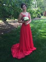 Show details for Red A-Line Cap Sleeve Open Back Chiffon Prom Dress With Lace Bodice