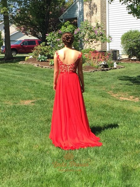 Red A-Line Cap Sleeve Open Back Chiffon Prom Dress With Lace Bodice