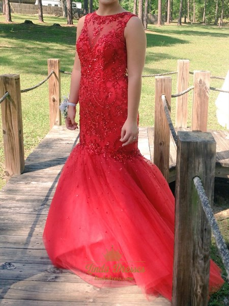 Show details for Red Lace Bodice Drop Waist Tulle Mermaid Prom Dress With Keyhole Back