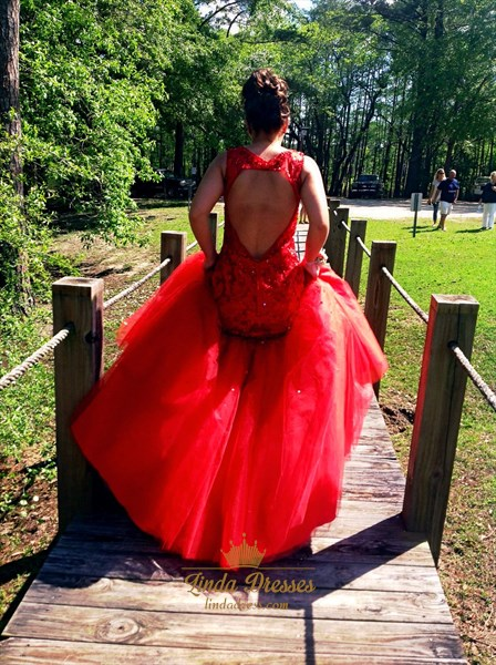 Red Lace Bodice Drop Waist Tulle Mermaid Prom Dress With Keyhole Back
