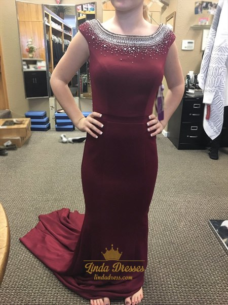 Burgundy Cap Sleeve Beaded Embellished Mermaid Open Back Prom Dress
