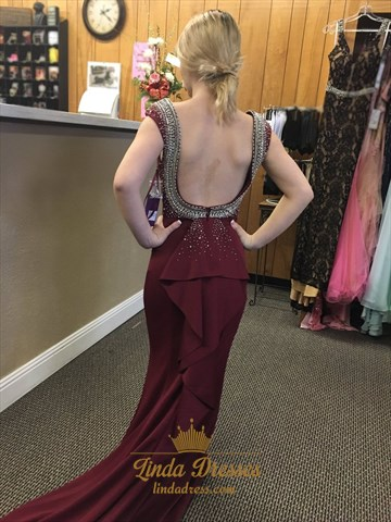 Burgundy Cap Sleeve Beaded Embellished Mermaid Open Back Prom Dress