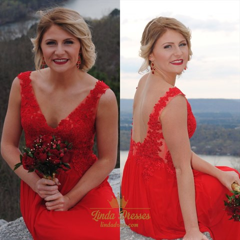 Red Sleeveless V-Neck A-Line Floor-Length Chiffon Dress With Open Back