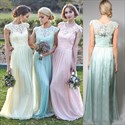 Show details for Light Blue Bridesmaid Dresses With Straps And Lace Cap Sleeves Overlay Top