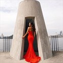 Show details for Simple Red Lace Strapless Sweetheart Mermaid Evening Dress With Train
