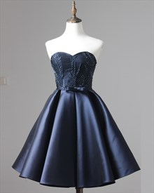 Navy Blue Knee Length Strapless A-Line Beaded Satin Homecoming Dress