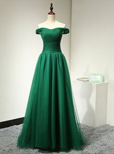 Emerald Green A-Line Off The Shoulder Ruched Tulle Long Prom Dress