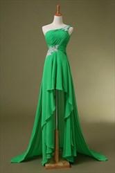 One Shoulder Empire Waist Applique Chiffon High-Low A-Line Prom Dress