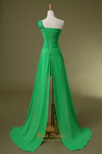 One Shoulder Empire Waist Applique Chiffon High-Low A-Line Prom Dress