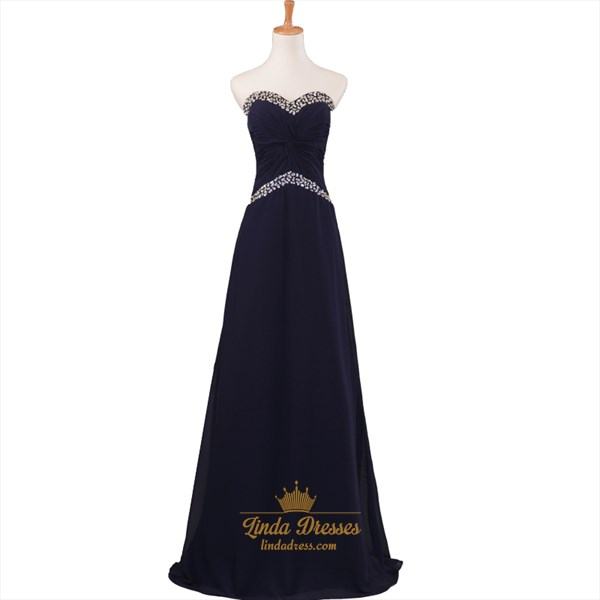 Black Strapless Beaded Sweetheart A-Line Floor-Length Evening Dress