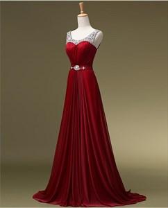 Burgundy Sleeveless Scoop Neckline Beaded Top A-Line Long Formal Dress