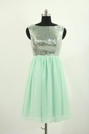 Simple Short Sleeveless Sequin Bodice Chiffon Bottom Homecoming Dress